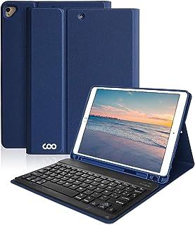 Teclado iPad 10.2 10.2 8th 2020/7th 2019, Funda con Teclado Español para iPad Air 3 10.5 2019/iPad Pro 10.5 2017 con Ranura de Lápiz,Teclado Español Bluetooth Inalámbrico Desmontable-Azul oscuro