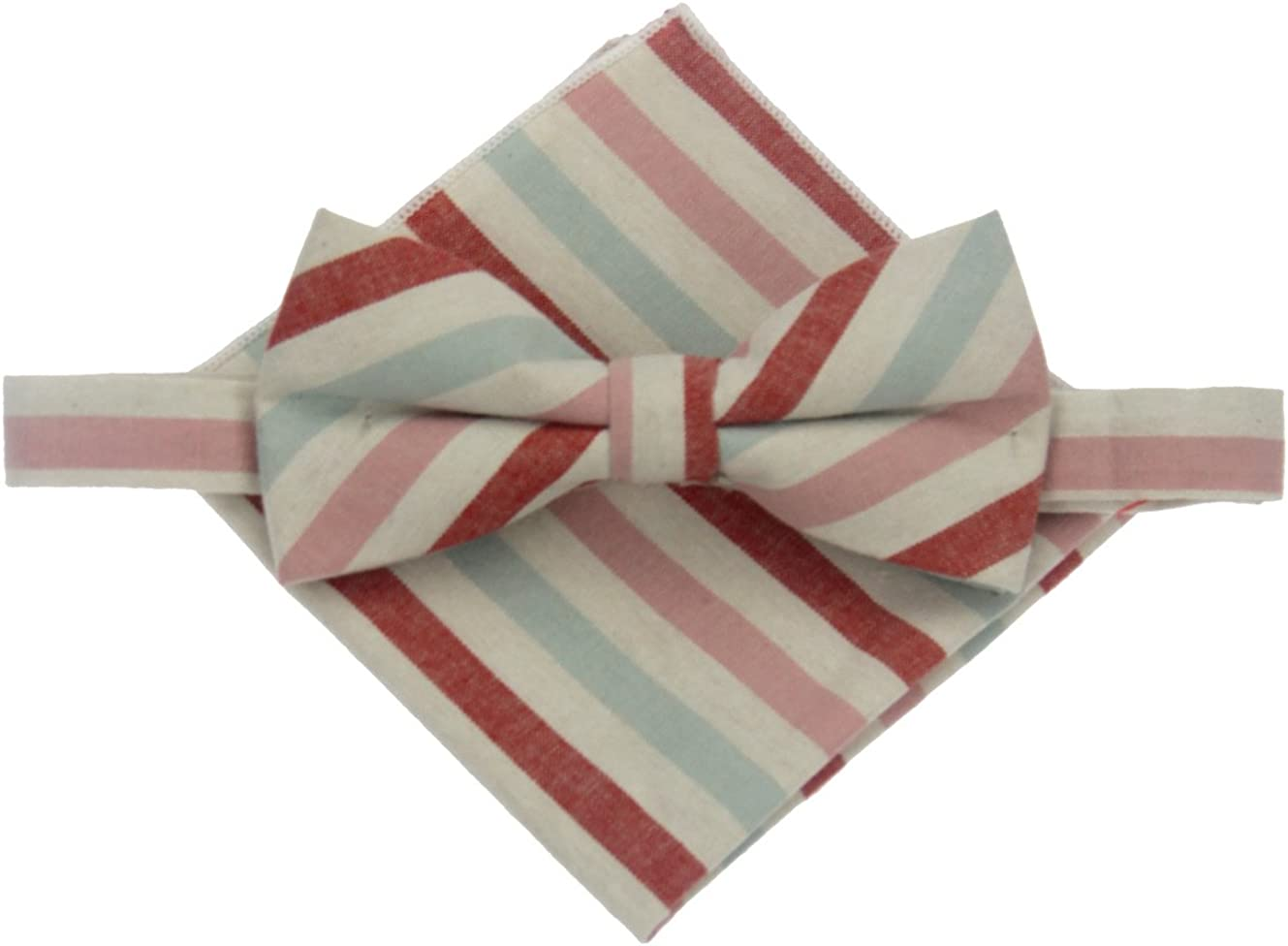Colorful Stripe Bowtie and Pocket Square Set Wedding Prom