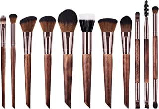 AEdiea 11本/セット 化粧筆 多機能化粧ブラシ ?ウッドハンドル メイクブラシ ウール 化粧ペンツール 高品質 シンプル