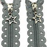 SHIYANTQ 10 piezas 3 # Star encaje (12/16') 30/40 cm cremallera de encaje de estrella accesorios de costura 20 cremalleras de color, gris, 12 pulgadas