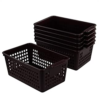 Morcte 6-Pack Plastic Storage Baskets, Office Desktop Organizers, Brown