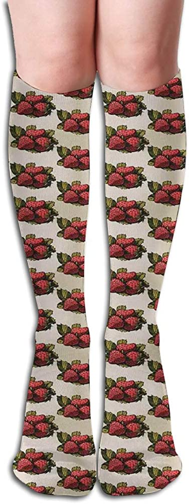 Men's and Women's Funny Casual Combed Cotton Socks,Hand Drawn Fruits Pattern with Fresh Leaves Summer Arrangement