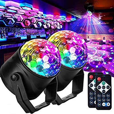 Yumkeadac Disco Lights, Party Lights with USB Cable and Suction Mount,Rotating 7 Colorful Effects 3 Music Mode Remote Controller Sound Activated Strobe Lights for Parties Birthday Family 2 Pack