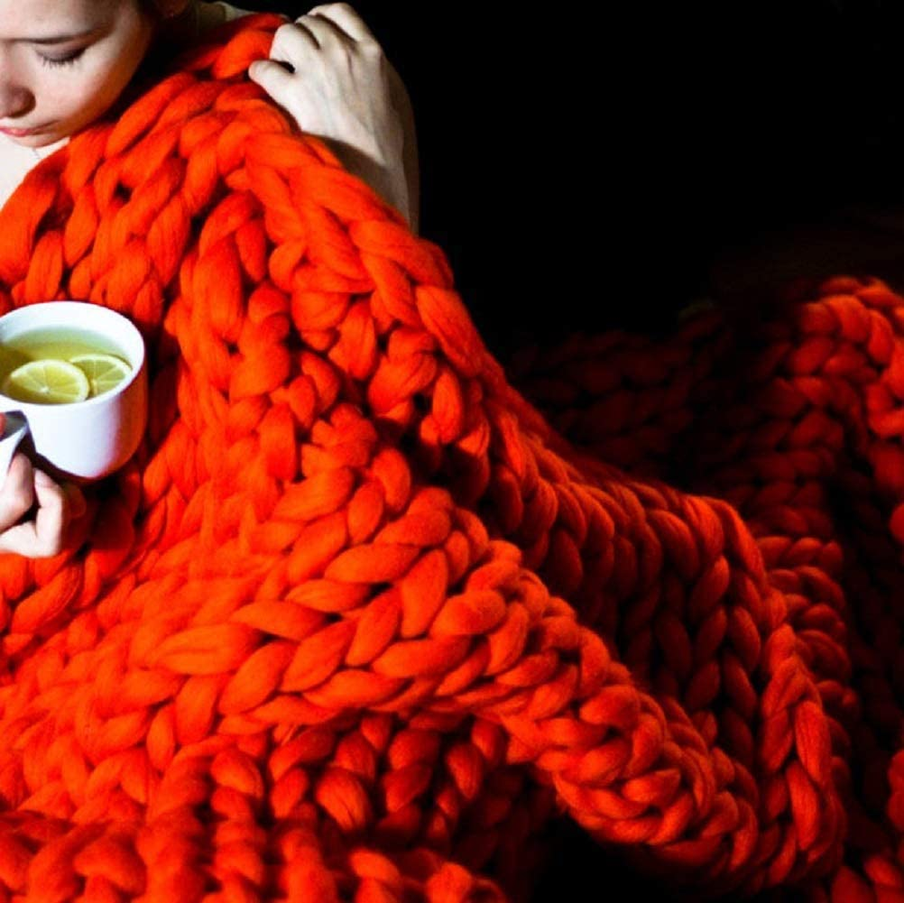 Max 89% OFF Plush Knit Blanket Handmade Thick Wool Knitting Thr Chunky Bulky In stock