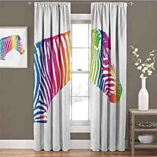GUUVOR Safari for Bedroom Blackout Curtains Zebra Portrait in Multicolored Stripes Zoo Animal Savannah Mammal with Vibrant Skin Blackout Curtains for The Living Room W63 x L84 Inch Multicolor
