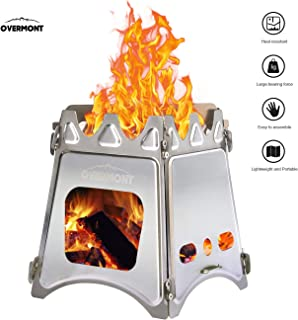 Overmont Folding Wood Stove Stainless Steel Compact Lightweight for Outdoor Picnic Traveling Backpacking Camping