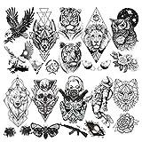 LAROI 10 Hojas Gran León Tigre Tatuaje Temporal Animales Negro Hombre Adultos Línea Geométrica Oso Búho Polilla Mujer Brazo Grande Muerte Cráneo Falso Águila Tatuajes Temporales Realistas Tattoos