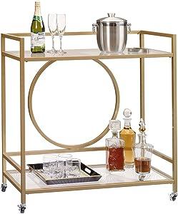"""Sauder International Lux Bar Cart, L: 35.59"""" x W: 15.75"""" x H: 37.21"""", Satin Gold"""