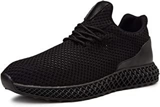 XUJW-Shoes, Mens Fashion Sneakers for Men Training Running Shoes Lace Up Breathable Knit Mesh Fabric Lightweight Antislip Outsole Durable Comfortable (Color : Black, Size : 8.5 UK)