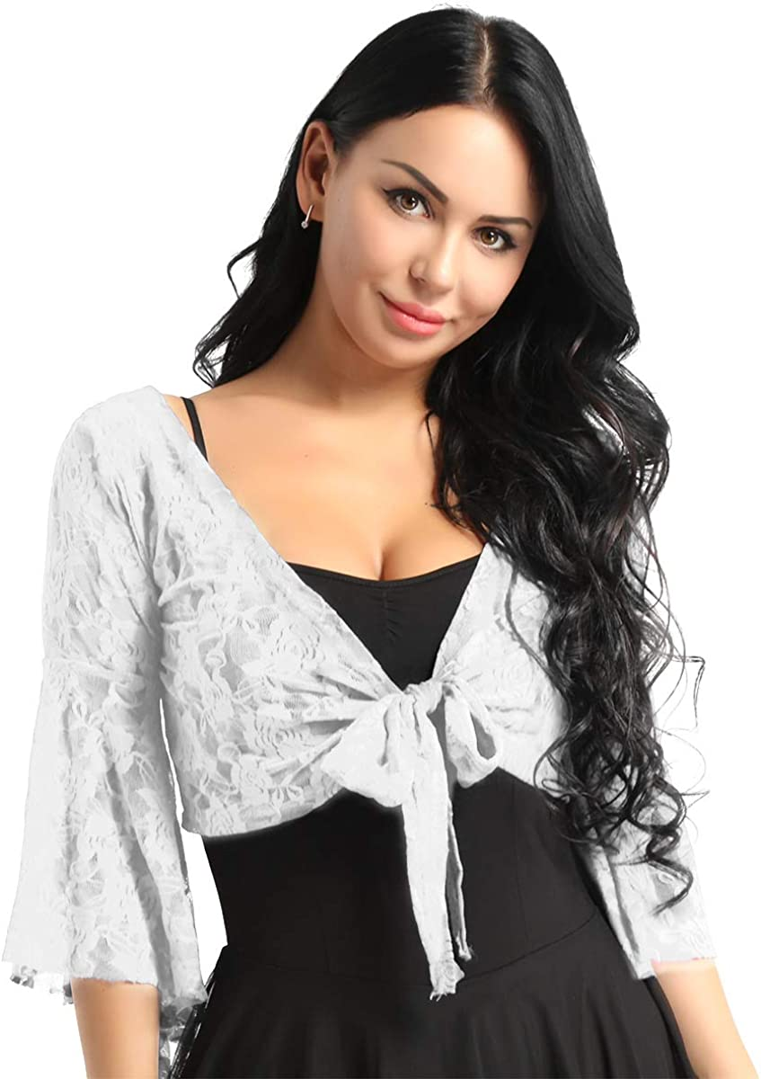 Agoky Women's Floral Lace Belly Dance Blouse Choli Top Flare Sleeve Tie Front Cardigan Shrug