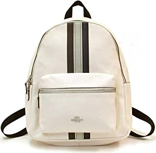 Charlie Leather Backpack with Varsity Stripe - #4411 - Chalk / Multi