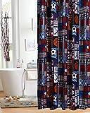 Unbranded Sports Patch Theme Fabric Shower Curtain Kids Boys Bath Blue Soccer...