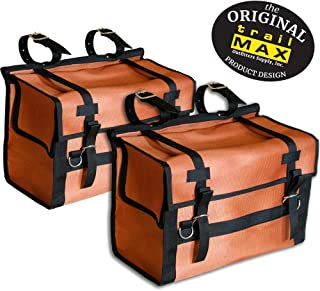 TrailMax Iron-Cloth Pack Pannier Bags, for Horse and Mule Packing, Featuring Ballistic Nylon Mesh, Washable, Incredibly Durable, Versatile, Orange and Black, Sold in Pair