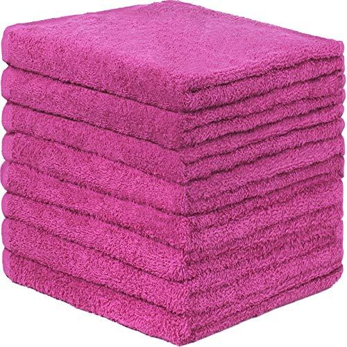 GREEN MARK Textilien 8er Pack Frottier Handtücher mit Aufhänger 50x100cm Handtuch 100% Baumwolle Farbe: Pink