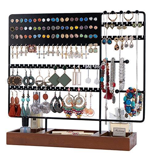 Optyuwah - Porta-orecchini, multifunzione, in legno, per collane, anelli, bracciali, orologi, orecchini e altri ancora, colore: nero