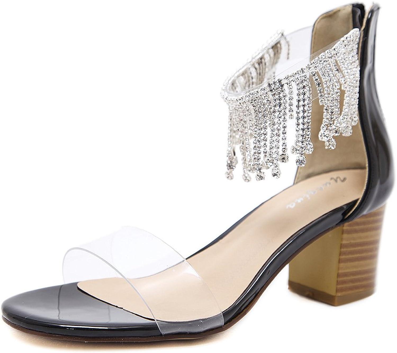 QZUnique Women's Chunky High Heels Diamond Tassels Sandals Linear Shape Transparent Upper Peep Toes with Chain