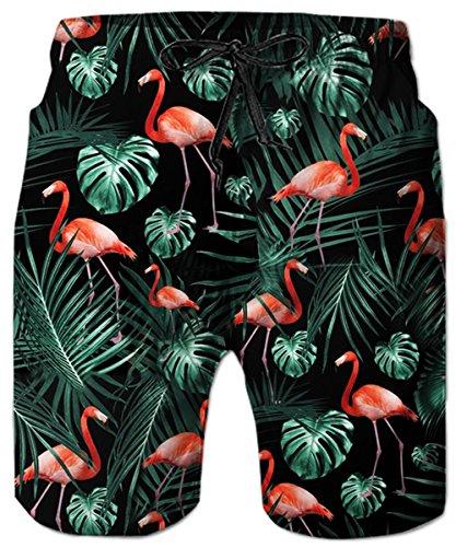 Idgreatim Herren Badehose 3D Shorts Badeshorts Sommer Strand Surfen Boardshorts Bademode mit Tasche XL