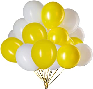 GAKA 12 in Yellow and White Balloons Helium Balloons Quality Latex Balloons Party Decorations Supplies Pack of 50,3.2g/pcs