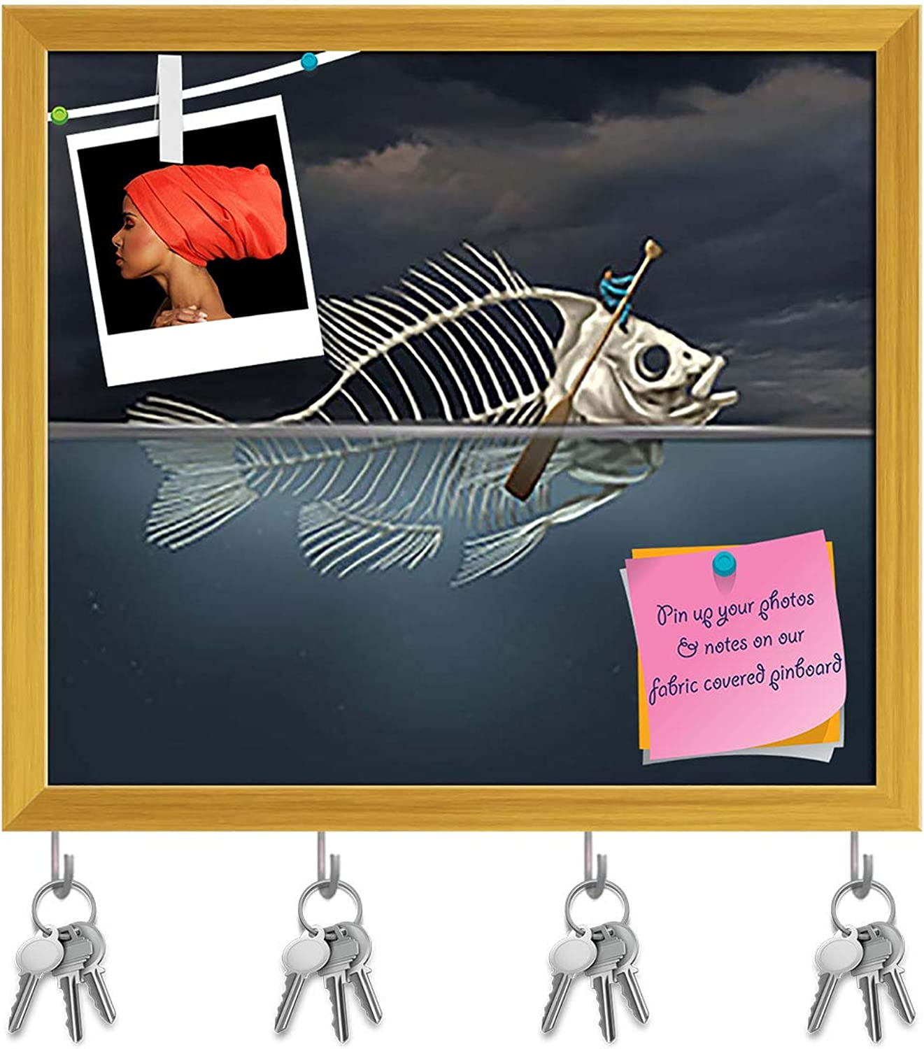 Artzfolio Fish Skeleton Rowing with A Boat Paddle Key Holder Hooks   Notice Pin Board   golden Frame 17.9 X 16Inch