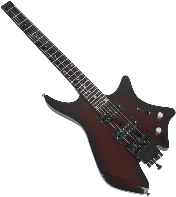 KEPOHK 38 pulgadas Guitarra eléctrica Maple Wood Headless 6 cuerdas Performance Guitarra Kit con altavoz Cable de audio Juego de iniciación para principiantes 38 pulgadas rojo oscuro