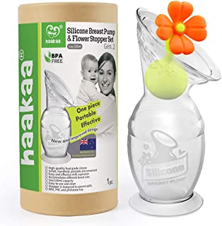 Haakaa Breast Pump Manual Breast Pump Milk Saver Milk Pump with Suction Base and Flower Stopper 100% Food Grade Silicone B...