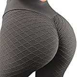 MOSHENGQI Women's Ruched Butt Lifting High Waist Yoga Pants Tummy Control Stretchy Workout Leggings Textured Booty Tights(Medium,#3 Opal Gray)