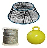 """KUFA Sports Vinyl Coated Tower Style Prawn Trap(30'x20'x12'H,Mesh:1-1/8'), 1/4' x 400' Lead Rope & 15"""" Inflatable Folat Combo (CT130+LQ4+F15Y)"""