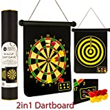 FiNeWaY@ NEW 2 IN 1 MAGNETIC DARTBOARD ROLL UP 6 MAGNET DARTS GAME DART BOARD DOUBLE SIDED FUN