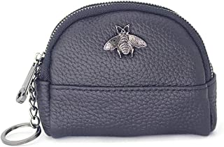S-Smile Leather Womens Change Purse Wallet - Large Size Zip Coin Pouch Card Holder with Key Ring - Gift Box