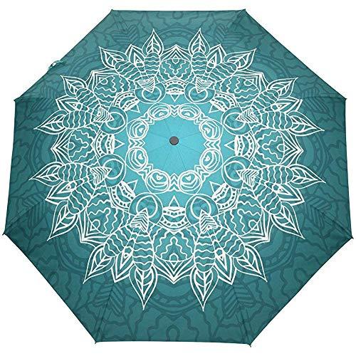 Vintage Mandala Floral Flowers Auto Open Close Umbrellas Anti UV Folding Compact Automatic Umbrella