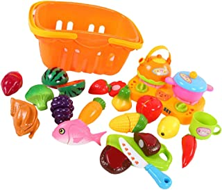 BAOBLADE 21pcs Plastic Fruits Vegetables Basket Set For Kids Pretend Play Food Cutting & Slicing Role Play Toy Set