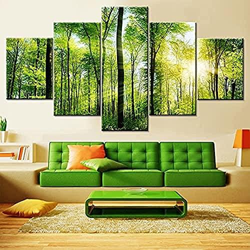 Moderne HD-gedruckte Bilder Wohnzimmer Leinwand Sshine Green Forest Landschaft Modular Bäume Poster Wall Artor/Rahmenlos
