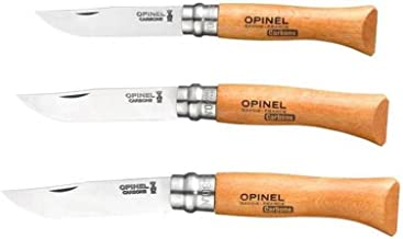 Bundle - 3 Items: Opinel No 6 Carbon Steel Folding Knife, Opinel No 7 Carbon Steel Folding Knife, and Opinel No 8 Carbon Steel Folding Knife