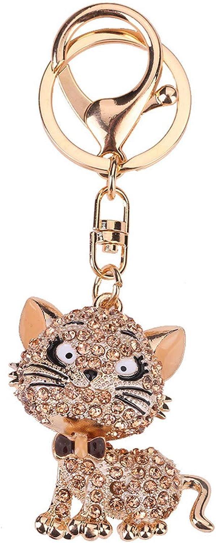 Cat Crystal Keychain Animal Keyring Car Bag Accessory