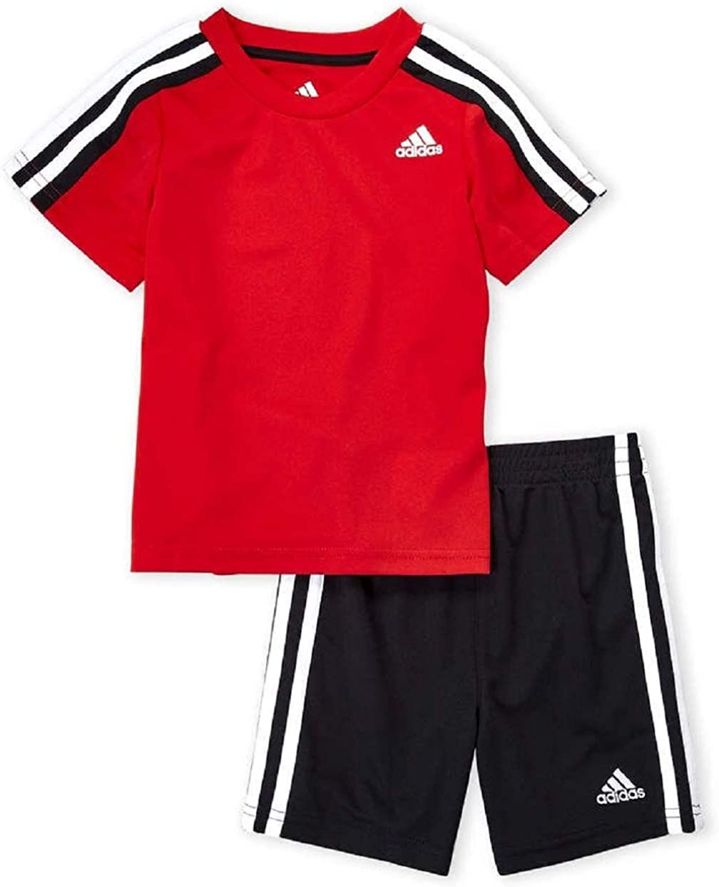 adidas Boys Striped Three Stripes Active Sport Tee T-Shirt & Shorts Set Red/Black