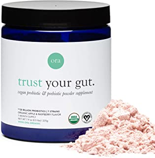 Ora Organic Trust Your Gut Vegan Probiotic with Prebiotic Powder, Apple Raspberry, 255g