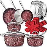 Dealz Frenzy Stone Ultra Non-Stick Pots and Pans Set, 16 Pieces Marble Coating Induction Cookware Set, Stainless Steel Handle, Durable, Scratch Resistance, Dishwasher Safe, Oven Safe Red, Merry Xmas!