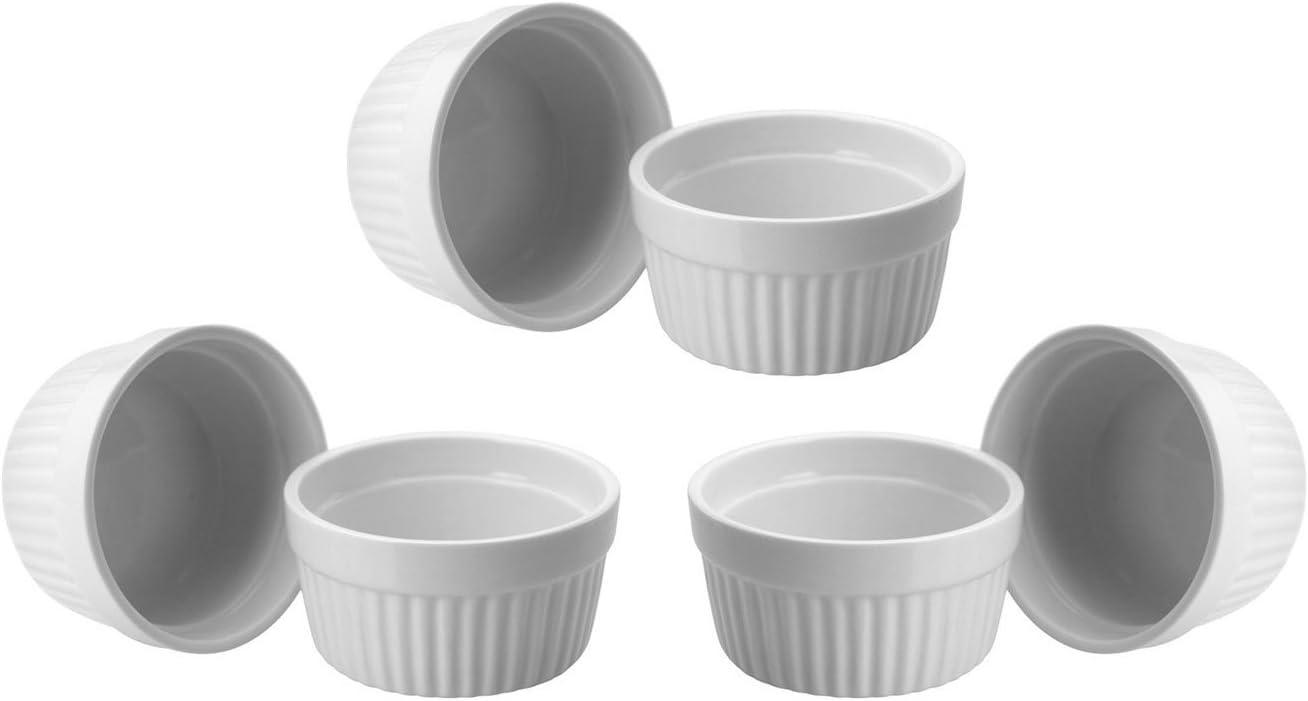 ToCi Brulee ramekins blanco creme brulee 9 cm, también para soufflé de chocolate y ragout, plato de cerámica para tartas. Paquete de 6 unidades