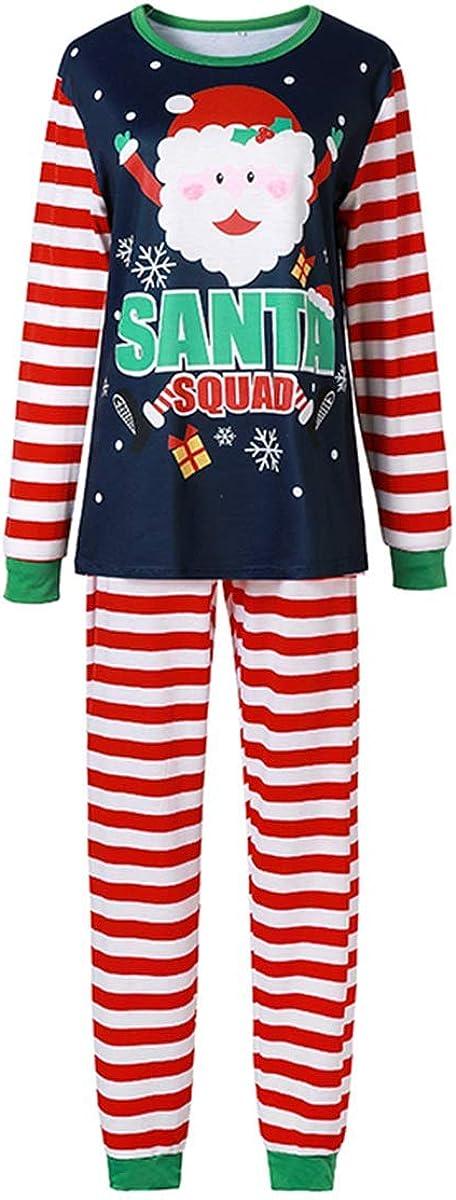 Family Matching Christmas Pajamas Set Santa Squad Pjs Navy Blue Long Sleeve Top Red-White Striped Pants Sleepwear