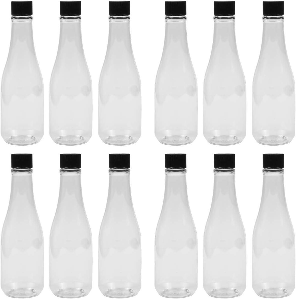 PEXALE 8 OZ Plastic pet Ranking TOP5 HOT caps Woozy 12 Kansas City Mall Black Bottles Sauce