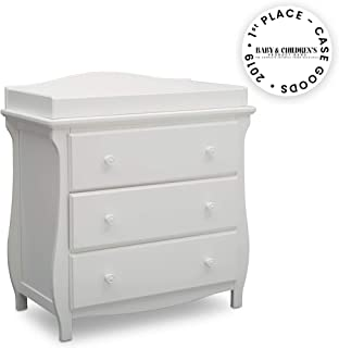 Delta Children Lancaster 3 Drawer Dresser with Changing Top, Bianca White