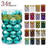 "KI Store 34ct Christmas Ball Ornaments Shatterproof Christmas Decorations Tree Balls for Holiday Wedding Party Decoration, Tree Ornaments Hooks Included 2.36"" (60mm Teal)"