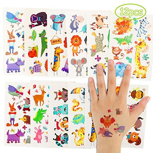 Herefun Tatuaggi Temporanei per Bambini, 12Pcs Animale Tatuaggi Temporanei, Regali per Bambini Festa di Compleanno, Tatuaggio Tattoos Adesivi per Bambini Impermeabile Tatuaggio Temporaneo