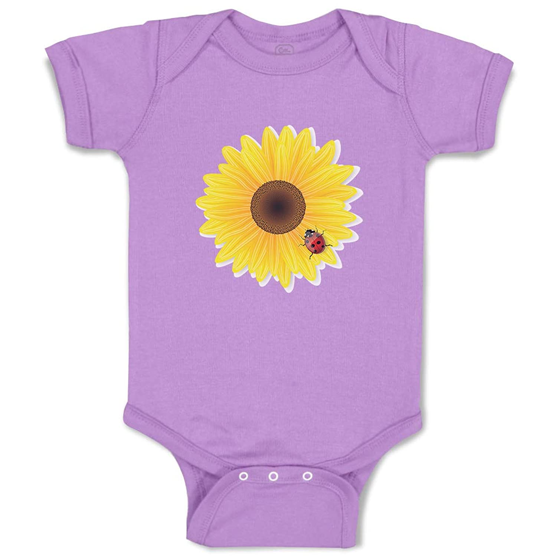 Custom Boy & Girl Baby Bodysuit Sunflower and Ladybug Funny Cotton Baby Clothes