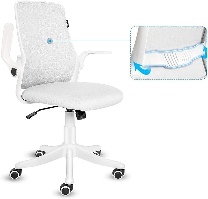 Sedia da ufficio con bracciolo ribaltabile, ergonomica, con chiusura a 120°, rotazione a 360°, fullwatt B08CQTNK8S