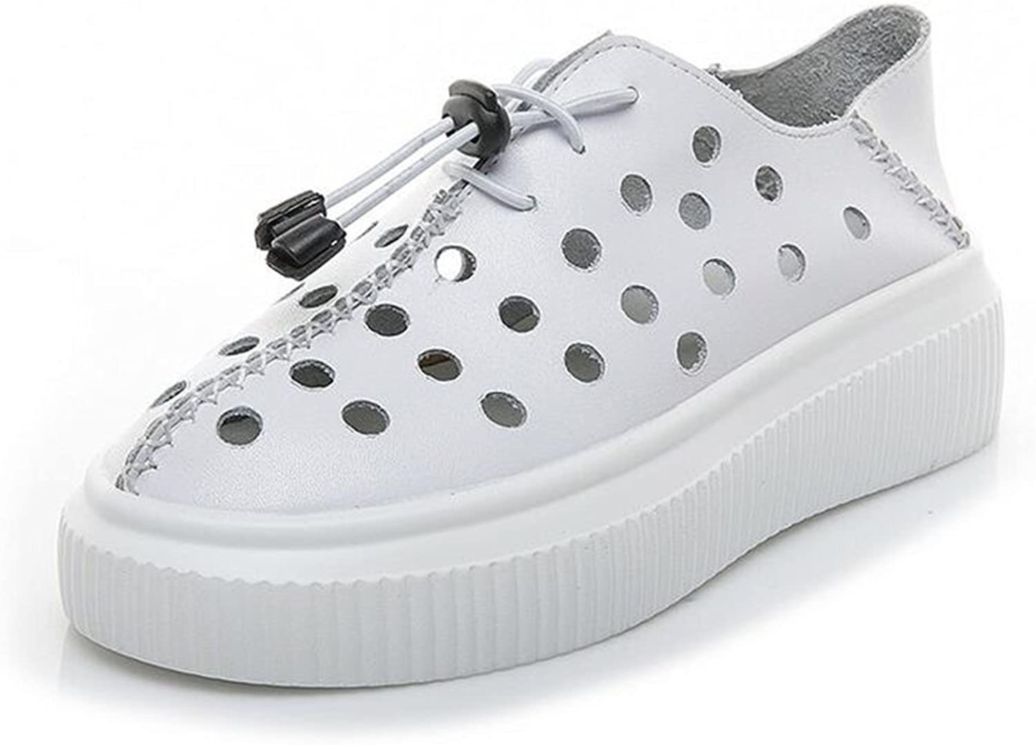 Exing Womens's shoes Hollow Hole Little White shoes,New Leather Casual shoes,Summer Fall New Sneakers,Deck shoes