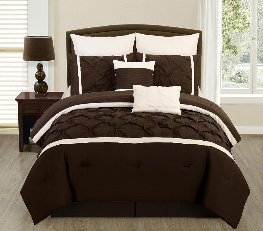 恩赦軍団チェリーLegacy Decor 8?PCブラウンとクリームピンタックBrushed Microfiber Full Comforter寝具セット