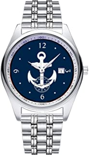 Casual Simple New Style Stainless Steel Strap Waterproof Wristwatch WhiteBlue Nautical Anchor Symbol Dial Analog Quartz Watch Date & Second Hands dial