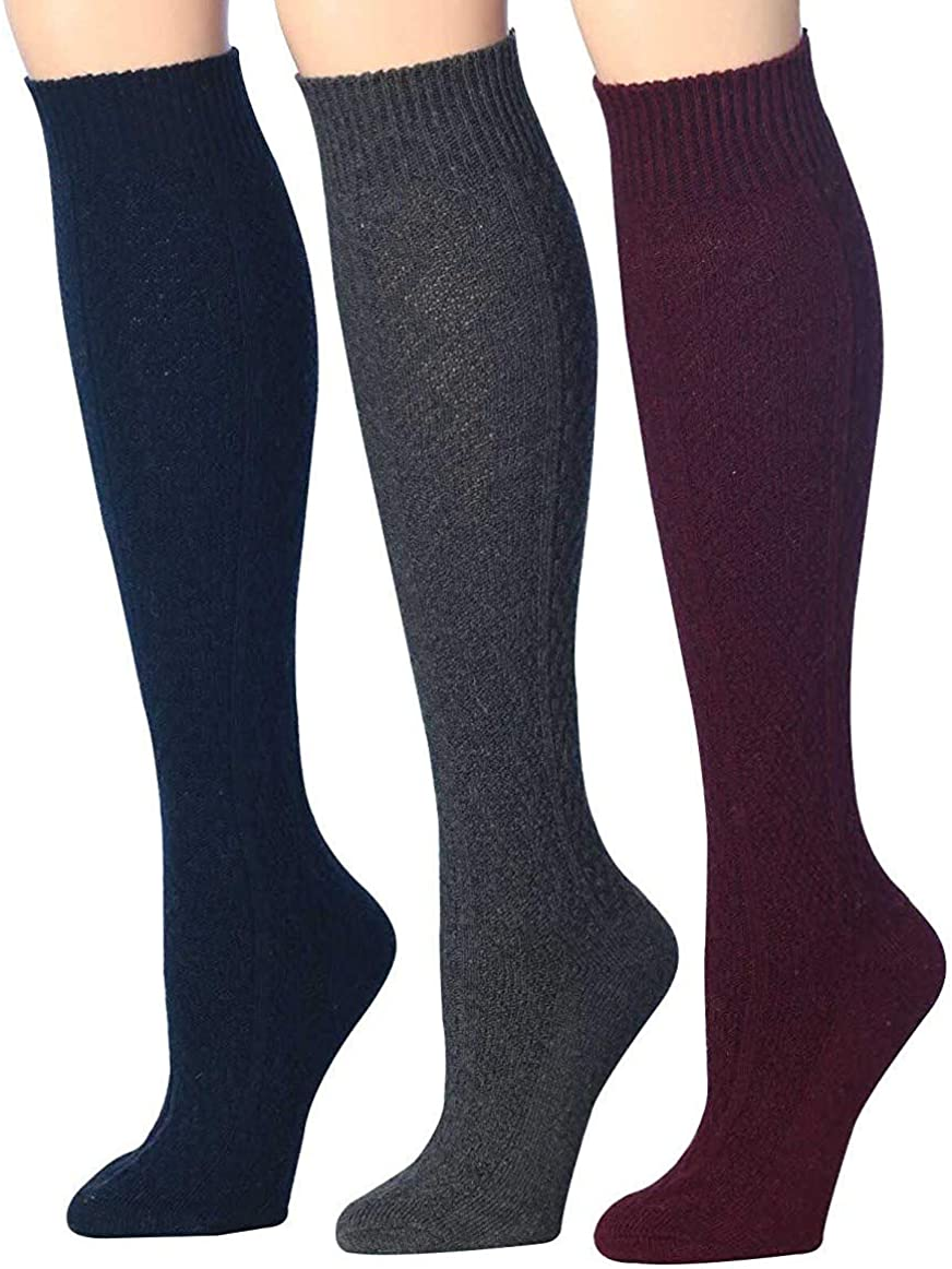 Tipi Toe Women's 3 Pairs Ragg Marled Ribbed over the calf/knee high Wool-Blend Boot Socks