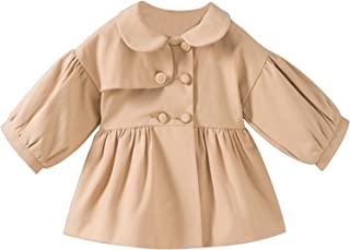 Evelin Lee Baby Girls Windbreaker Jacket Bowknot Trench Coat with Belt Princess Autumn Outwear